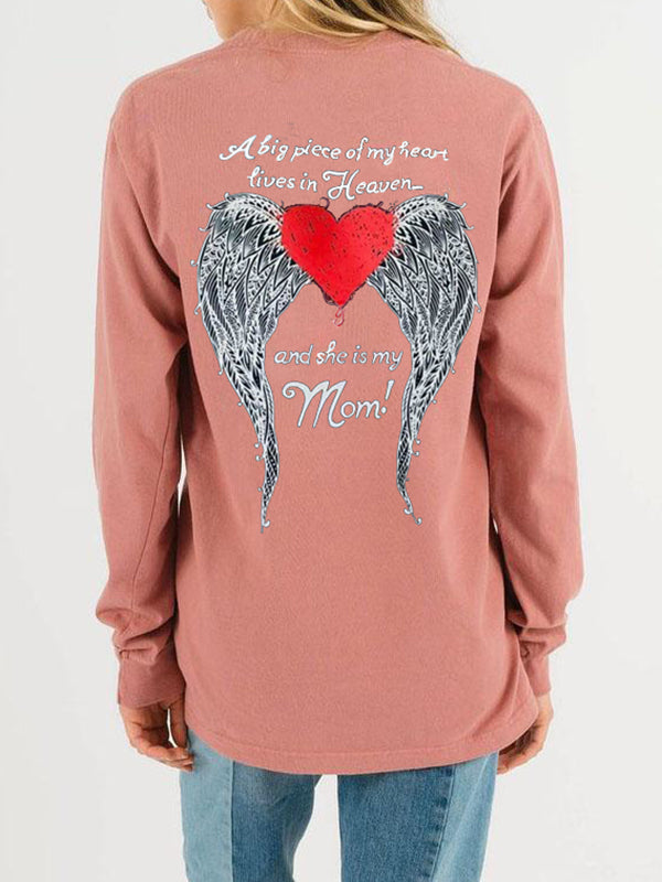 Angel Wings Print Pullover Sweatshirt