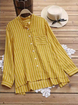 wiccous.com Plus Size Tops Yellow / L Plus size striped button top