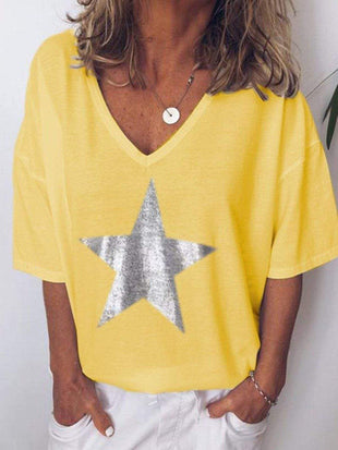 wiccous.com T-shirts Yellow / S V-Neck Star Printed T-shirts