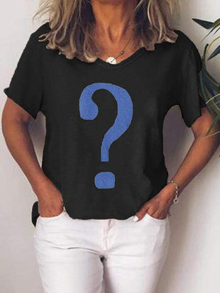 wiccous.com Plus Size Tops Black / L Plus Size Question Mark Print T-Shirt