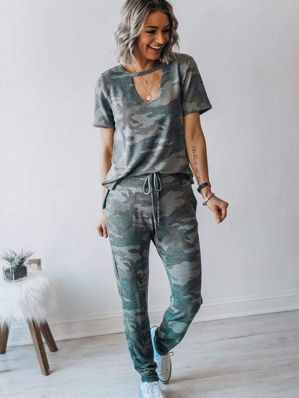 wiccous.com Jumpsuits CAMOUFLAGE / S Hollow Collar Short Sleeve Camouflage Suit
