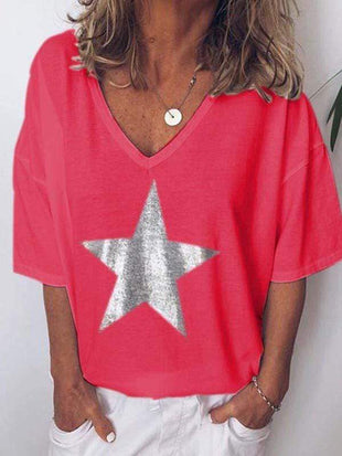 wiccous.com Plus Size Tops Red / L Plus size star print V-neck T-shirt