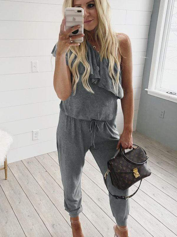 wiccous.com Jumpsuits Grey / S One Shoulder Ruffle Design Loose Jumpsuit