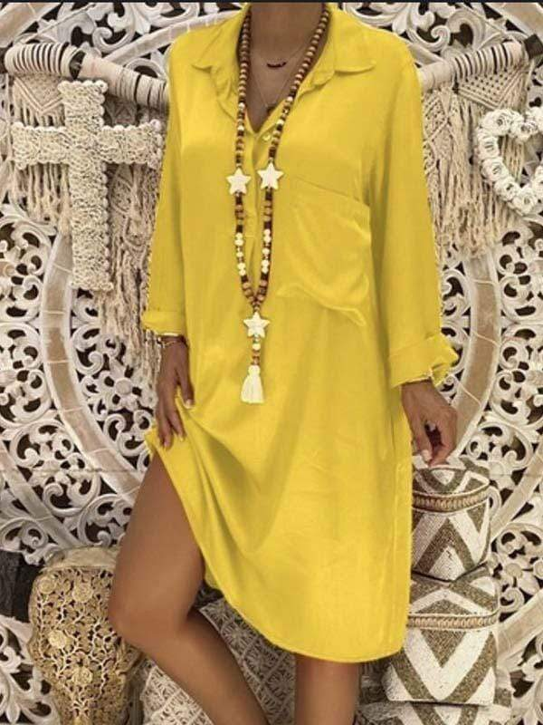 wiccous.com Plus Size Dress Yellow / S Plus size solid color patch pocket dress