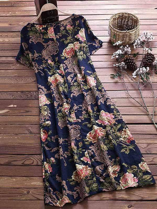 wiccous.com Plus Size Dress Navy / L Plus size cotton linen vintage print dress