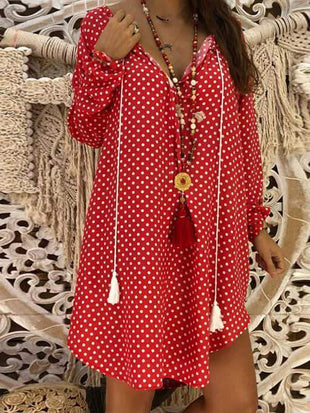 wiccous.com Plus Size Dress Red / L Plus Size Cotton Linen Dot V-Neck Dress