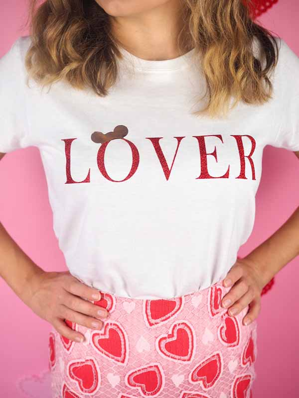 'Lover' Rose Gold Mouse Ears Tee