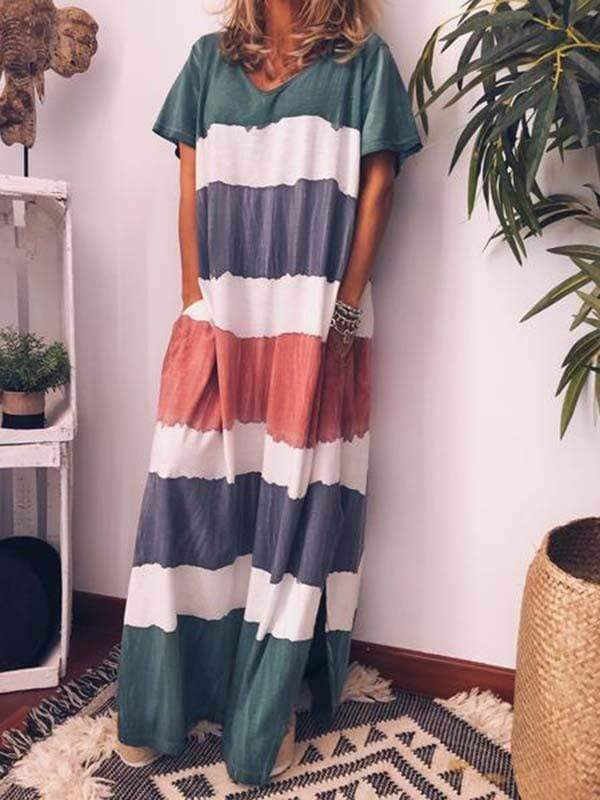 wiccous.com Plus Size Dress Green / L Plus Size Printing Dyeing Multicolor Dress