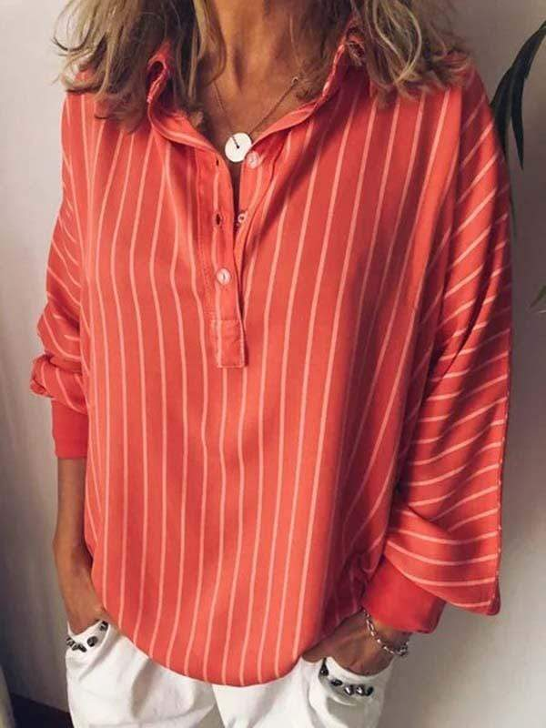 wiccous.com Plus Size Tops Red / L Plus Size Striped Print Long Sleeve Bat Shirt
