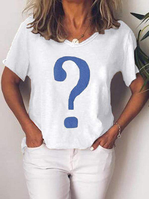 wiccous.com Plus Size Tops White / L Plus Size Question Mark Print T-Shirt