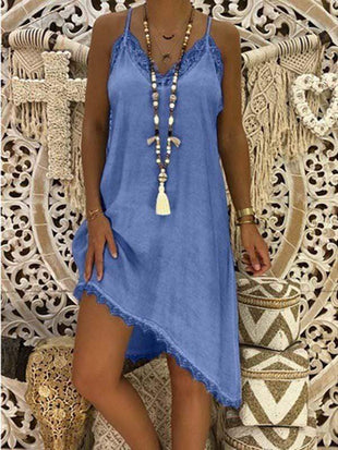 wiccous.com Plus Size Dress Light Blue / L Plus size Lace Strap Dress