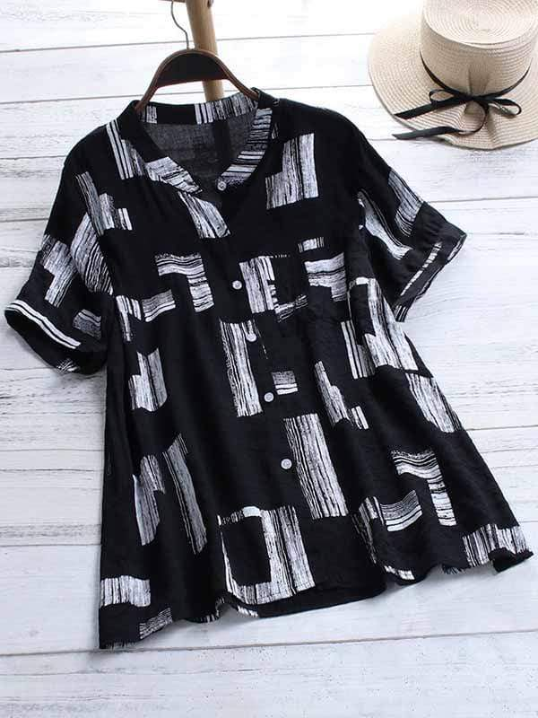 wiccous.com Plus Size Tops Black / L Plus size printed short-sleeved shirt