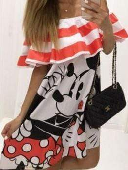 Mickey Printing Off-the-shoulder Falbala Dress