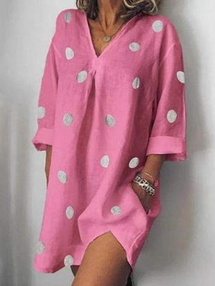 wiccous.com Plus Size Dress Pink / L Plus size V-neck dot print dress