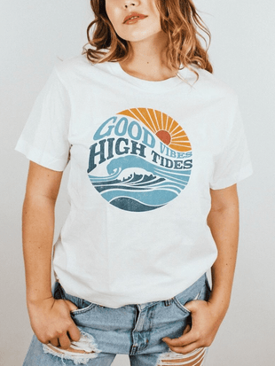 wiccous.com T-shirts White / S Good Vibes High Tides T-shirt