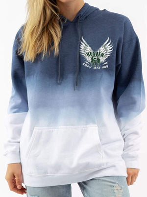 Angel Printed Gradient Hooded Sweatshirt