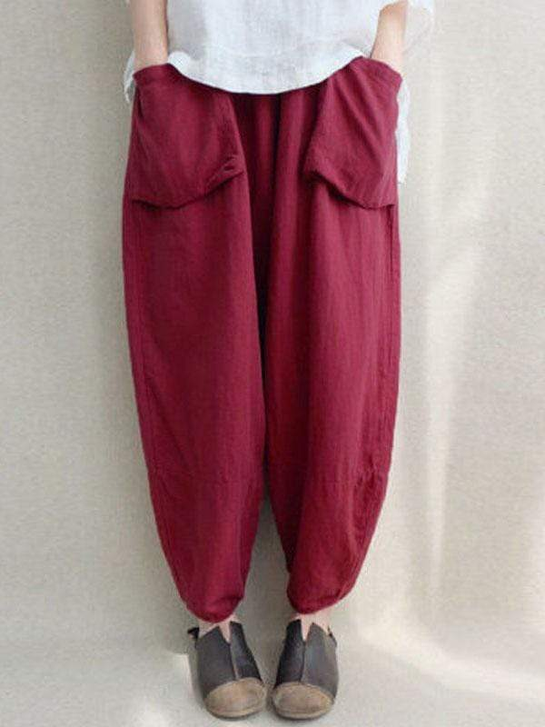 wiccous.com Plus Size Bottoms Red / L Plus size cotton linen cropped trousers
