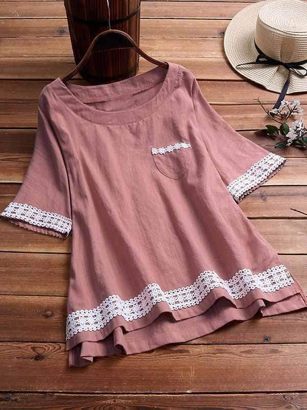 wiccous.com Plus Size Tops Pink / L Plus size lace stitching short-sleeved top