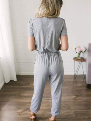 wiccous.com Jumpsuits Grey / S deep V neck intersect Jumpsuits