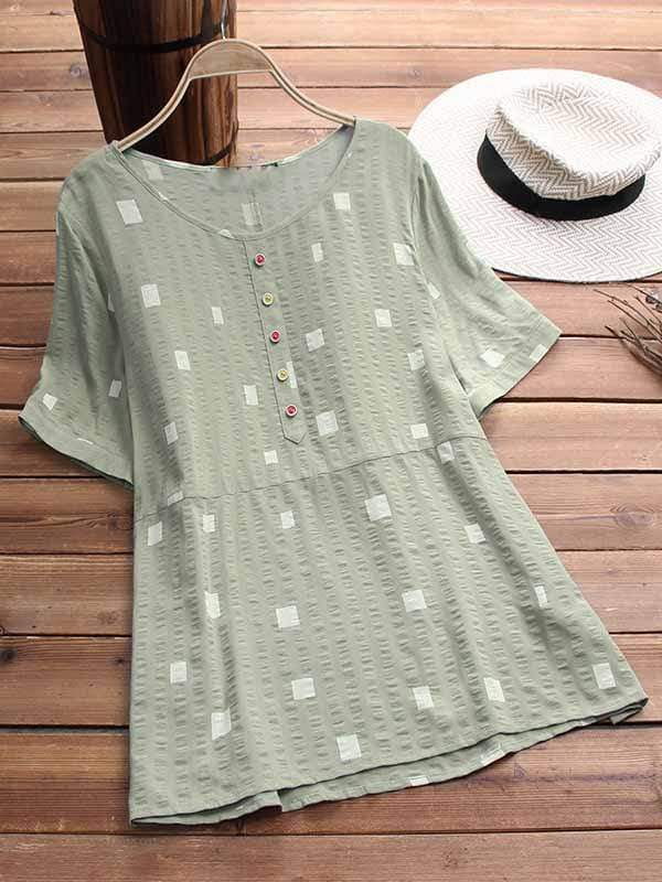 wiccous.com Plus Size Tops Light Green / L Plus size square printed button short-sleeved shirt