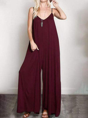 wiccous.com Plus Size Bottoms Burgundy / L Plus size solid color jumpsuit