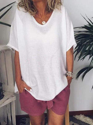 wiccous.com T-Shirts White / S Loose Short Sleeve Linen T-Shirts