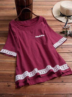wiccous.com Plus Size Tops Burgundy / L Plus size lace stitching short-sleeved top