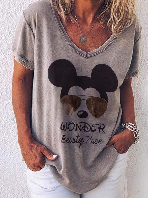 wiccous.com Plus Size Tops Grey / S Mickey Print T-Shirt