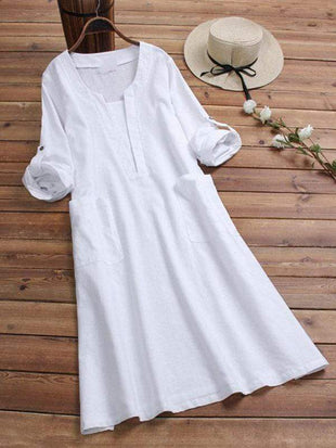 wiccous.com Plus Size Dress White / L Plus Size Cotton Linen Solid Color Dress