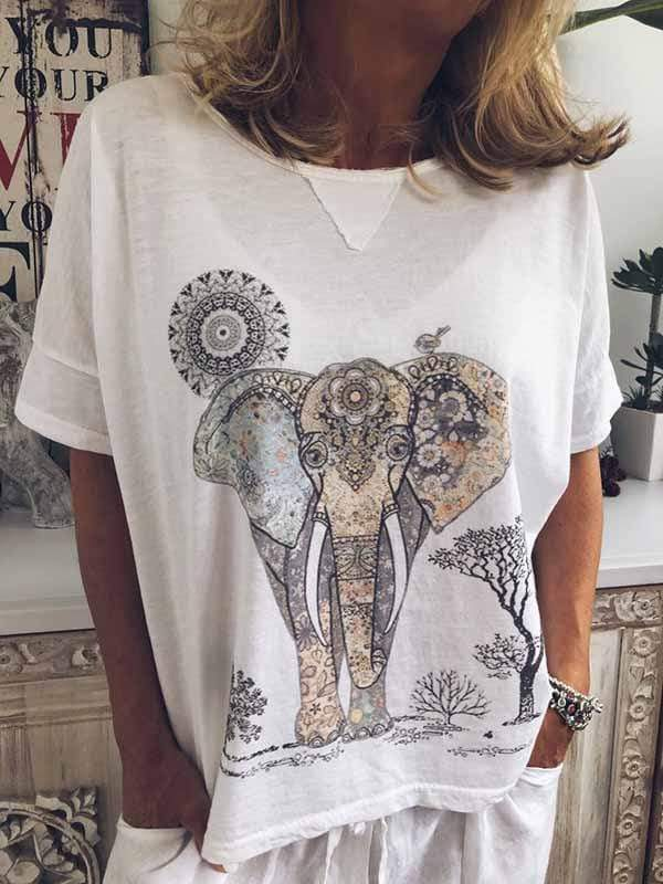 wiccous.com Plus Size Tops,T-Shirts White / S Elephant print t-shirt