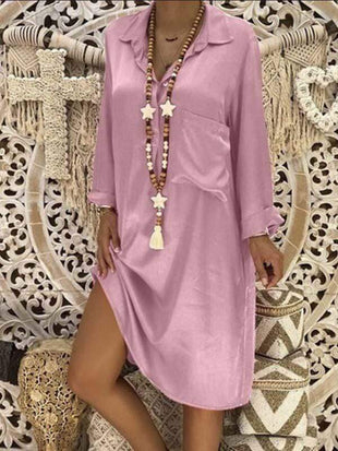 wiccous.com Plus Size Dress Pink / S Plus size solid color patch pocket dress