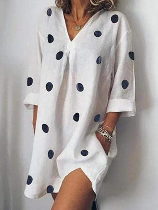 wiccous.com Plus Size Dress White / L Plus size V-neck dot print dress