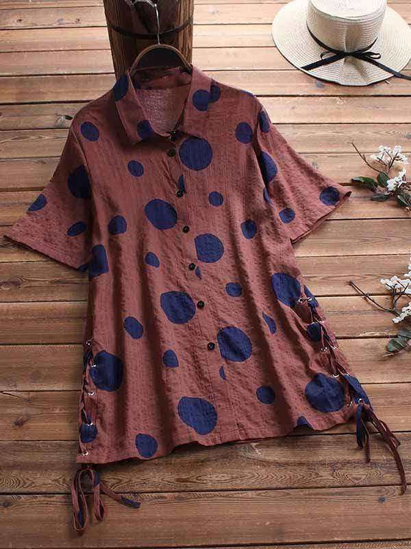wiccous.com Plus Size Tops Coffee / L Plus size dot print short sleeve shirt