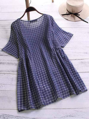 wiccous.com Plus Size Tops navy blue / L Plus size plaid short sleeve shirt