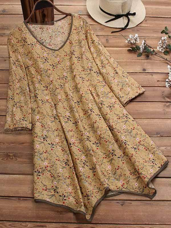 wiccous.com Plus Size Dress Khaki / L Plus size cotton and linen floral dress