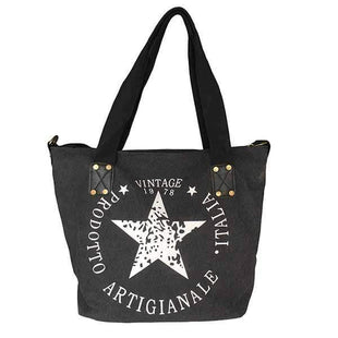 wiccous.com Bags Black Five-Pointed Star Handbag Shoulder Bag Canvas Bag