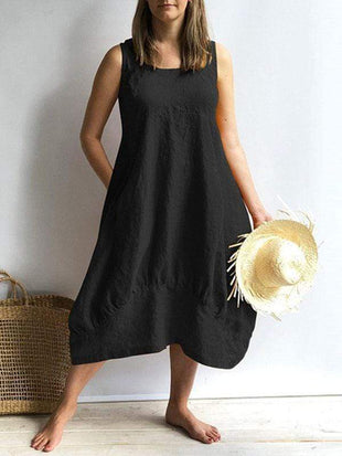 wiccous.com Plus Size Dress Black / L Plus size solid color cotton sleeveless dress