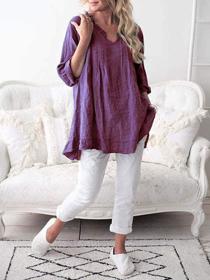 wiccous.com Plus Size Tops Purple / L Plus size V-neck pleated shirt