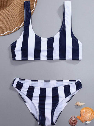 Blue Stripe Two-Piece Swimming Suit
