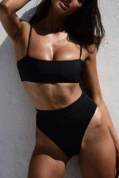wiccous.com Swimwear Black / S Solid Color Sexy High Waist Double-sided Swimsuit