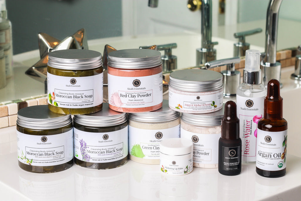 Natural and Organic Collection of Skalli Essentials Made in Morocco Pure Skincare Beauty Products
