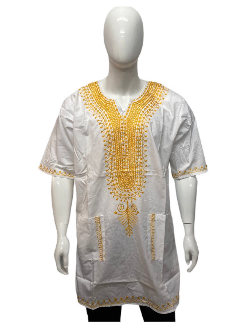 White Gold Embroidered Dashiki Shirt