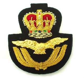 RAF CAP BADGE IN GILT & PLATED WIRE ON BLACK (4334376616008)