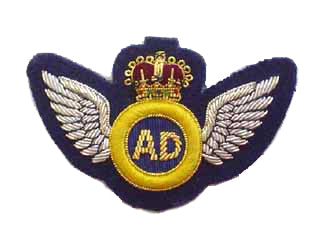 AIR DESPATCH ARM BADGE SILVER WINGS NO.1 ON NAVY (4344079974472)