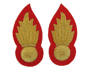 HONOURABLE ARTILLERY COMPANY W/O MESS COLLAR BADGES ON RED (4334350499912)
