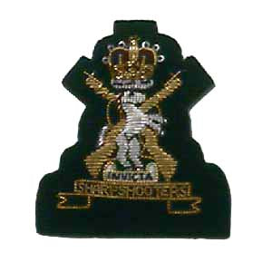 "KENT & COUNTY OF LONDON YEOMANRY 1 5/8"" MESS ARM BADGE ON RIFLE GREEN FOR SGT. (4334326841416)"