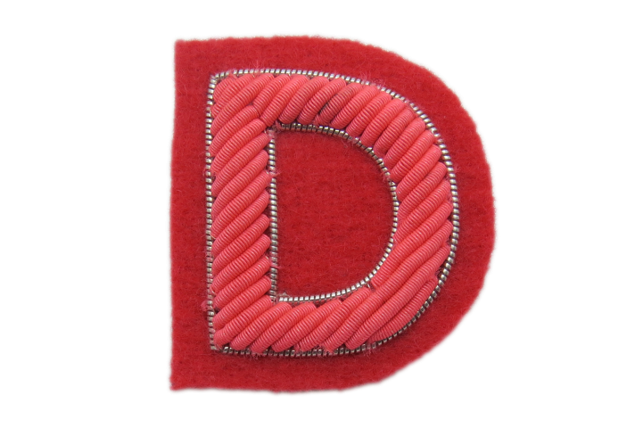 Pink Goldwork Letter Badge (4394703159368)
