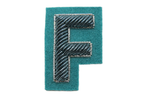 Sea Green Goldwork Letter Badge (4380412051528)