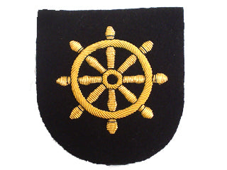 MERCHANT NAVY QUARTER MASTER ARM BADGE - SHIPS WHEEL ON BLACK (4344133451848)