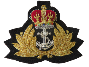 ROYAL NAVY OFFICERS CAP BADGE ON BLACK CLOTH (4334369800264)